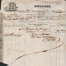 Líneas de navegación: FÁCTURA DE CABOTAGE.SEVILLA-CÁDIZ.AÑO 1856.. Lote 54696227