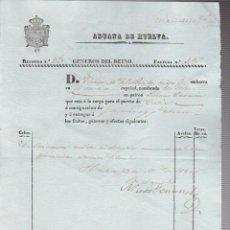 Líneas de navegación: ADUANA DE HUELVA.FÁCTURA.GÉNEROS DEL REINO.HUELVA-CÁDIZ.1840. Lote 54696873
