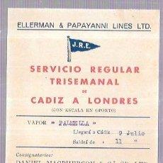 Líneas de navegación: TARJETA CARTEL DE SALIDA DE BARCO CADIZ A LONDRES. SERVICIO REGULAR TRISEMANAL. VAPOR PALMELLA.. Lote 54783424