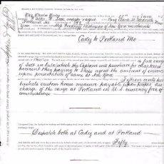 Líneas de navegación: CONTRATO DE FLETAMENTO DEL VELERO CLARA M GOODRICH. DE CADIZ A PORTLAND. CARGA SAL A GRANEL. 1873.. Lote 54799488
