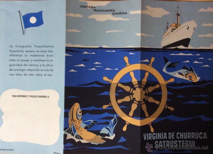 VIRGINIA DE CHURRUCA. SATRUSTEGUI. COMPAÑÍA TRASATLANTICA ESPAÑOLA. FOLLETO PUBLICITARIO (Coleccionismo - Líneas de Navegación)
