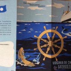 Líneas de navegación: VIRGINIA DE CHURRUCA. SATRUSTEGUI. COMPAÑÍA TRASATLANTICA ESPAÑOLA. FOLLETO PUBLICITARIO. Lote 54875620
