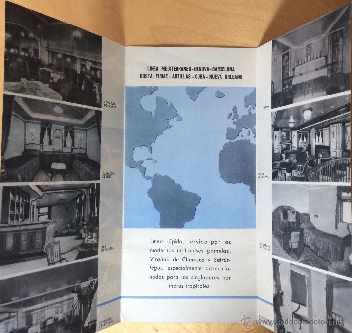 Líneas de navegación: VIRGINIA DE CHURRUCA. SATRUSTEGUI. COMPAÑÍA TRASATLANTICA ESPAÑOLA. FOLLETO PUBLICITARIO - Foto 2 - 54875620