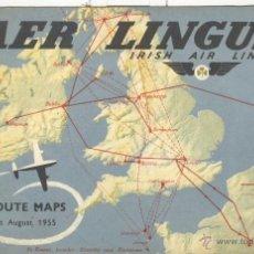 Líneas de navegación: GUÍA AER LINGUS IRISH AIR LINES. LINEAS AEREAS IRLANDA. 1955. MAPAS CON LAS RUTAS.. Lote 55023344