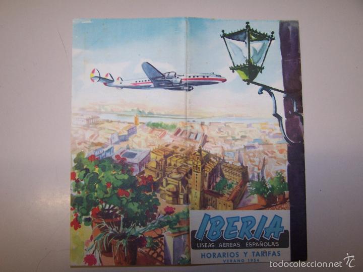 IBERIA LINEAS AEREAS ESPAÑOLAS. HORARIOS Y TARIFAS. VERANO 1954 (Coleccionismo - Líneas de Navegación)