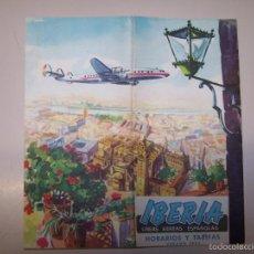 Líneas de navegación: IBERIA LINEAS AEREAS ESPAÑOLAS. HORARIOS Y TARIFAS. VERANO 1954. Lote 55742196