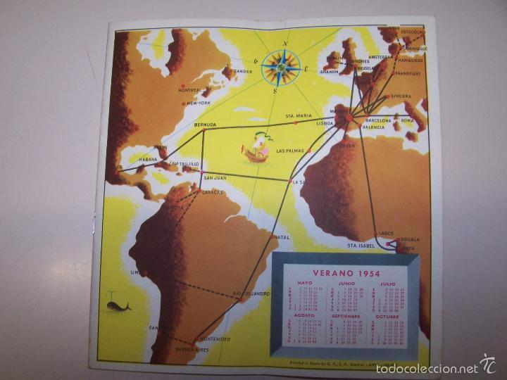 Líneas de navegación: Iberia Lineas Aereas Españolas. Horarios y Tarifas. Verano 1954 - Foto 2 - 55742196