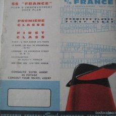 Líneas de navegación: SS FRANCE. COMPAGNIE GÉNÉRALE TRANSATLANTIQUE. DECK PLAN.. Lote 55760886