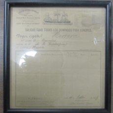 Líneas de navegación: CARTEL DE LINEA DE VAPORES ESPAÑOLES. ENTRE CADIZ Y LONDRES. 1887. 25,4 X 28,8 CM. ENMARCADO. Lote 56147766