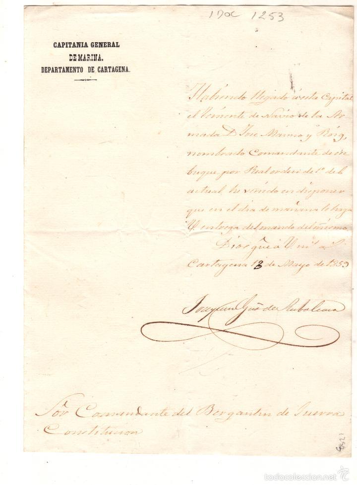 Líneas de navegación: CAPITANIA GENERAL DE MARINA, CARTAGENA, ENTREGA DE BUQUE A COMANDANTE, 1859 - Foto 2 - 29237830