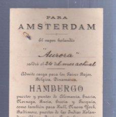 Líneas de navegación: CARTEL CON SELLO DE VAPOR HOLANDES. PARA AMSTERDAM. 1901. VER DORSO. Lote 56789034