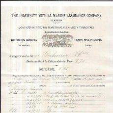 Líneas de navegación: LINEA DE NAVEGACIÓN. POLIZA DE COMPAÑIAS DE SEGUROS MARITIMOS, FLUVIALES Y TERRESTRE. CADIZ. 1894.. Lote 56885250