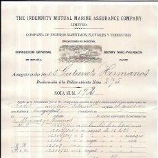 Líneas de navegación: LINEA DE NAVEGACIÓN. POLIZA DE COMPAÑIAS DE SEGUROS MARITIMOS, FLUVIALES Y TERRESTRE. CADIZ. 1894.. Lote 56885357