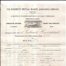 Líneas de navegación: LINEA DE NAVEGACIÓN. POLIZA DE COMPAÑIAS DE SEGUROS MARITIMOS, FLUVIALES Y TERRESTRE. CADIZ. 1894.. Lote 56885360