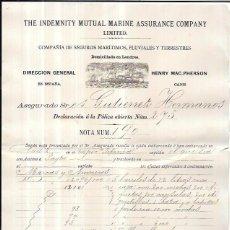 Líneas de navegación: LINEA DE NAVEGACIÓN. POLIZA DE COMPAÑIAS DE SEGUROS MARITIMOS, FLUVIALES Y TERRESTRE. CADIZ. 1894.. Lote 56885363