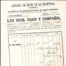 Líneas de navegación: JEREZ DE LA FRONTERA. 1859. FACTURA DE EXPORTACIÓN. NUEVA YORK, FRAGATA IVANHOE. VINOS. . Lote 56915884