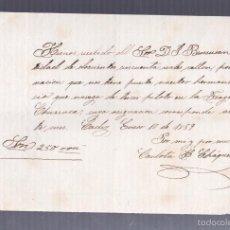 Líneas de navegación: CADIZ. 1859. FRAGATA GENERAL CHURRUCA. RECIBO DE ANTICIPO DE SUELDO. Lote 57338877