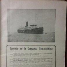 Líneas de navegación: SERVICIO DE LA COMPAÑIA TRASATLÁNTICA. AÑO 1920. Lote 57775872
