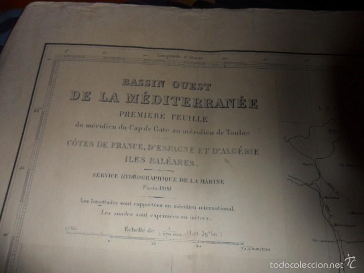 DASSIN OUEST DE LA MEDITERRANEE. PREMIERE FEUILLE. CARTA DE NAVEGACION. AÑO 1964. (Coleccionismo - Líneas de Navegación)