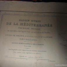 Líneas de navegación: DASSIN OUEST DE LA MEDITERRANEE. PREMIERE FEUILLE. CARTA DE NAVEGACION. AÑO 1964. . Lote 57918314