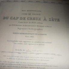 Líneas de navegación: DU CAP DE CREUX A SETE. MER MEDITERRANEE. COTE DE FRANCE. CARTA DE NAVEGACION. AÑO 1957.. Lote 57918349