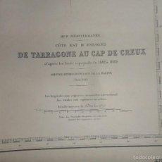 Líneas de navegación: DE TARRAGONA AU CAP DE CREUX. MER MEDITERRANEE. COTE EST D' ESPAGNE. CARTA DE NAVEGACION. AÑO 1939.. Lote 57918421