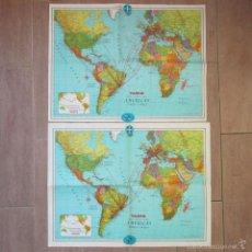 Líneas de navegación: 2 MAPAS DOBLES VARIG LÍNEAS AÉREAS MAPA MUNDI Y BRASIL 1968. Lote 58608322