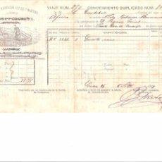 Lignes de navigation: DOCUMENTO. EMBARQUE. VAPORES VINUESA Y COMPAÑIA. VAPOR AFRICA. 1887. Lote 58628657
