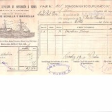 Líneas de navegación: DOCUMENTO. EMBARQUE. VAPORES COMPAÑIA SEVILLANA DE NAVEGACION A VAPOR.. VAPOR TORRE DEL ORO. 1911.. Lote 58640710