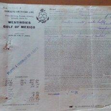 Líneas de navegación: DOCUMENTO. EMBARQUE. VAPORES HAMBURG-AMERICAN LINE. VAPOR SPREEWALD. 1911.. Lote 58931795