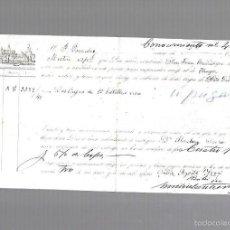 Líneas de navegación: CONOCIMIENTO DEL BARCO SAN JUAN BAUTISTA, DESTINO TANGER, DE DOS CAJAS DE 12 BOTELLAS DE VINO. 1887. Lote 60492051