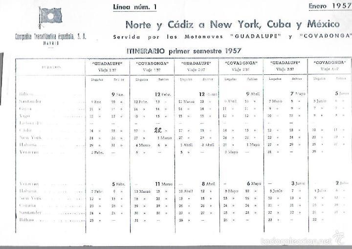 COMPAÑIA TRASATLANTICA ESPAÑOLA. 1857. MOTONAVE GUADALUOE Y COVADONGA. ITINERARIO. VER (Coleccionismo - Líneas de Navegación)