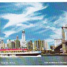 Líneas de navegación: NEW YORK, NUEVA YORK, TORRES GEMELAS, 3 HORAS DE CRUCERO PANORÁMICO, AÑO 1989, CIRCLE LINE FOLLETO. Lote 60637003