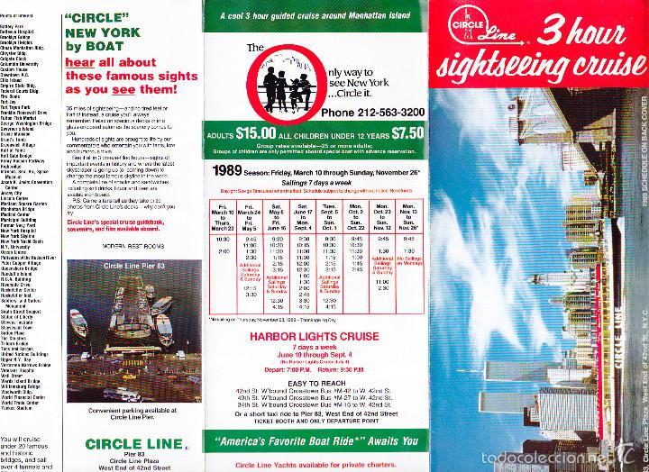 Líneas de navegación: New York, Nueva York, folleto turístico, 3 horas de crucero panorámico, año 1989, circle line - Foto 2 - 60637003