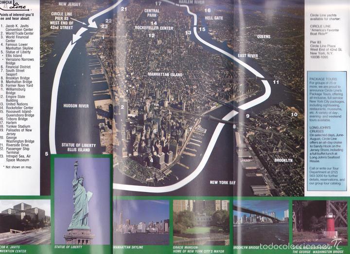 Líneas de navegación: New York, Nueva York, folleto turístico, 3 horas de crucero panorámico, año 1989, circle line - Foto 3 - 60637003