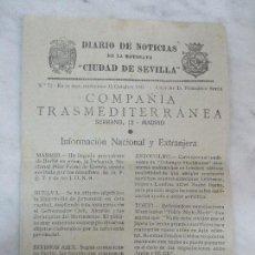 Líneas de navegación: DIARIO DE NOTICIAS DE LA MOTONAVE CIUDAD DE SEVILLA - Nº 72 -15 OCTUBRE 1941 - CAPITÁN D. FRANCISCO. Lote 62232832