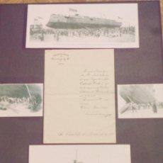 Líneas de navegación: INVITACION A LA BOTADURA DEL BUQUE DE COMBATE-CARLOS V-EN JEREZ DE LA FRONTERA,CADIZ. 1895.. Lote 66892118