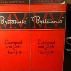 Líneas de navegación: CUNARD WHITE STAR. MOTOR VESSEL BRITANNIC. 1934-1948, LIVERPOOL-COBH TO NEW-YORK.. Lote 68454749