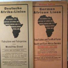 Líneas de navegación: DOS FOLLETOS PLEGADOS DE LAS LÍNEAS ALEMANAS CON AFRICA 1932-33 . LISTA DE PRECIOS E ITINERARIOS. Lote 68563665