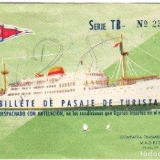 Líneas de navegación: BILLETE PASAJE COMPAÑIA TRASMEDITERRANEA TURISTA II. Lote 70348717