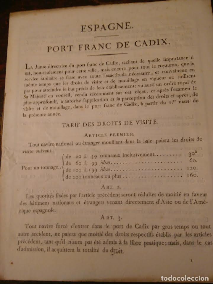PUERTO FRANCO DE CÁDIZ. TARIFAS, 1830. EN FRANCÉS. (Coleccionismo - Líneas de Navegación)