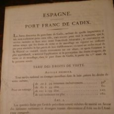 Líneas de navegación: PUERTO FRANCO DE CÁDIZ. TARIFAS, 1830. EN FRANCÉS.. Lote 70456349