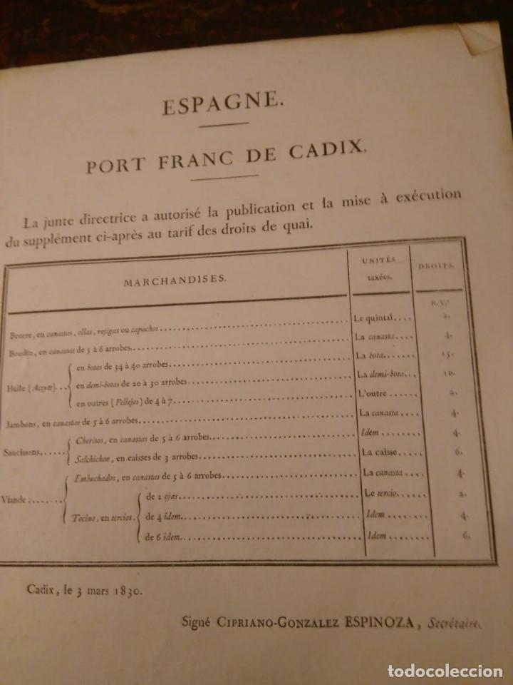 Líneas de navegación: Puerto Franco de Cádiz. Tarifas, 1830. En francés. - Foto 3 - 70456349
