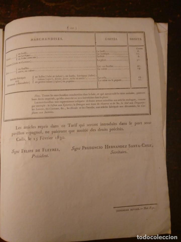 Líneas de navegación: Puerto Franco de Cádiz. Tarifas, 1830. En francés. - Foto 4 - 70456349