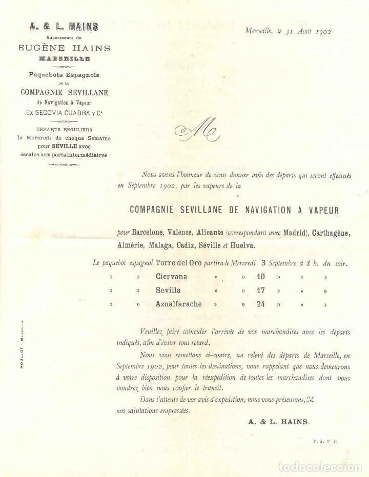 COMPAÑÍA SEVILLANA DE NAVEGACIÓN. CARTA DE AVISO DE PARTIDA, 1902. TORRE DEL ORO, CIERVANA, SEVILLA, (Coleccionismo - Líneas de Navegación)