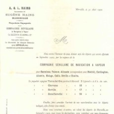 Líneas de navegación: COMPAÑÍA SEVILLANA DE NAVEGACIÓN. CARTA DE AVISO DE PARTIDA, 1902. TORRE DEL ORO, CIERVANA, SEVILLA,. Lote 70457365