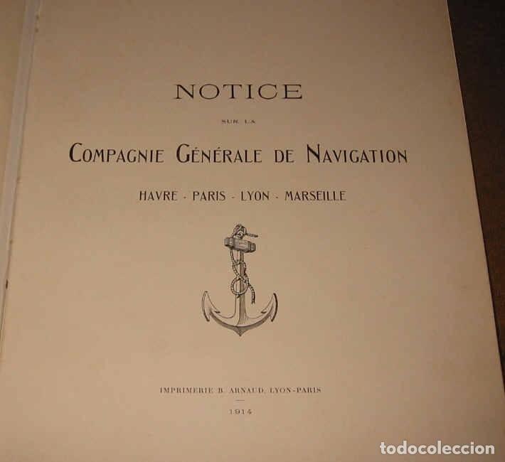 NOTICE SUR COMPAGNIE GENERALE NAVIGATION HAVRE-LYON-PARIS-MARSEILLE 1914 COMPAÑIA NAVEGACIÓN FLUVIAL (Coleccionismo - Líneas de Navegación)