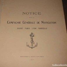 Líneas de navegación: NOTICE SUR COMPAGNIE GENERALE NAVIGATION HAVRE-LYON-PARIS-MARSEILLE 1914 COMPAÑIA NAVEGACIÓN FLUVIAL. Lote 70461293