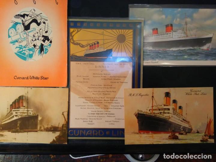 LOTE ORIGINAL CUNARD LINE, 1921-1949. 5 ARTÍCULOS. AQUITANIA MAJESTIC QUEEN ELIZABETH (Coleccionismo - Líneas de Navegación)