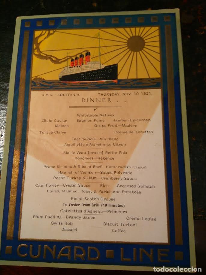 Líneas de navegación: Lote original Cunard Line, 1921-1949. 5 artículos. AQUITANIA MAJESTIC QUEEN ELIZABETH - Foto 2 - 76864907